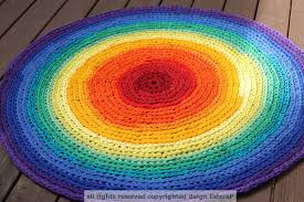 Rag Area Rug Rug Rainbow Rag Area Rug Recycled T Shirt Yarn
