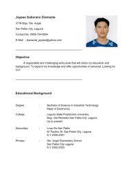 resume template for ojt free download entry level resume sles resume for ojt mechanical engineering