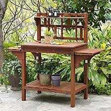 amazon com garden potting bench with storage shelf wood outdoor