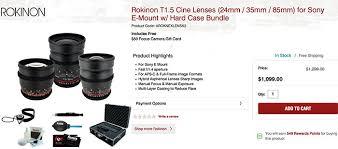 sony camera black friday new black friday deals 200 off on e mount rokinon cine lenses