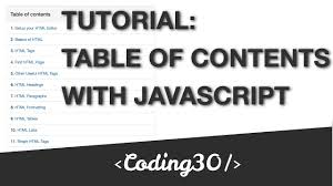 Html Table Formatting Tutorial Html Table Of Contents With Javascript Youtube