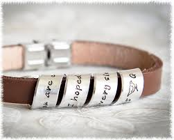3rd year anniversary gift ideas for leather bracelet men s custom leather bracelet quote jewelry