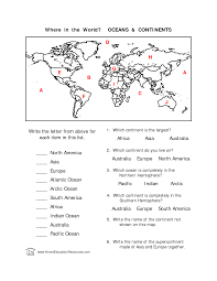 7 best images of world map continents and oceans worksheet world