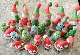 fondant christmas cupcake toppers santa claus elf christmas tree