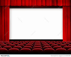 Movie Drapes Cinema Screen With Red Curtains And Seats Stock Photo 34205986