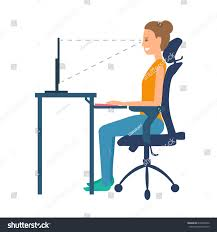 Ergonomic Desk Position Correct Position Sitting Table Ergonomic Orthopaedic Stock Vector