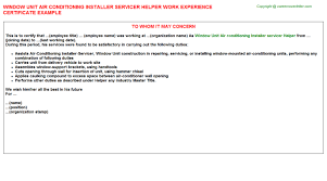 Sample Resume For Air Conditioning Technician by Window Unit Air Conditioning Installer Servicer Helper Work