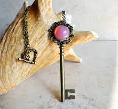 rose key necklace images Victorian skeleton key necklace with rose glass opal char 39 s jpg