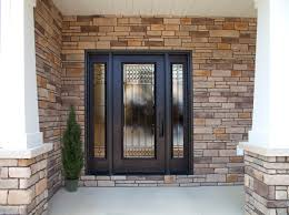 Steel Exterior Entry Doors Decorative Glass By Provia Is Shown Here On A Legacy
