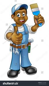 Painter Decorator Handyman Cartoon Character Holding Stock Vector
