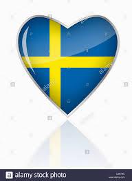 Sweedish Flag Swedish Flag In Heart Shape On White Background Stock Photo