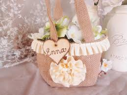 Shabby Chic Wedding Accessories by Burlap Flower Basket Rustic Custom Flower Bag Shabby