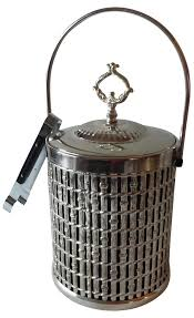 rattan design chrome ice bucket chairish