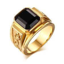 gold coloured rings images Buy men 39 s gold color ring large black stone stone jpg