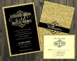 and black wedding invitations wedding invitations and gold glitter wedding