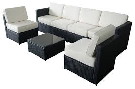 wicker outdoor sofa 7 piece wicker patio sectional furniture set black modern