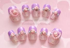 lavender nail kawaii nails 3d nails heart rose glittery