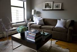 long table for living room living room brown fabric sofa grey wall square wood coffee table