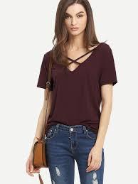 criss cross blouse burgundy criss cross front casual t shirt emmacloth fast