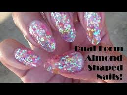 sparkly almond shaped acrylic nails using dual forms nails