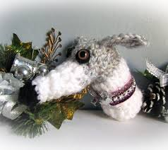 greyhound whippet christmas ornament white and gray crochet by