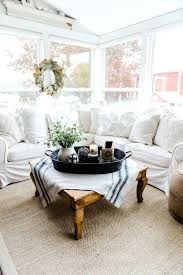 cape cod farmhouse white cottage style coffee table with baskets furniture color