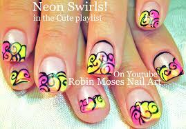 nail art tutorial diy easy design for short nails neon summer