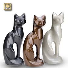 cat urn pearlescent black cat urn