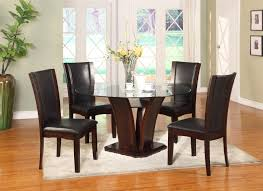 Round Dining Room Set Crown Mark Camelia Espresso Round Glass Top Dining Table With