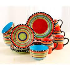 gibson elite pueblo springs 16 pc dinnerware multi colored