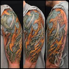 biomech bio organic color half sleeve tattoo arm by jon von glahn
