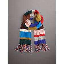 burberry long striped rib knit wool scarf lyst
