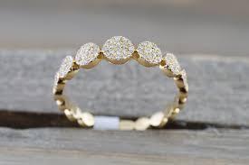 circle engagement ring 14 karat yellow gold dainty pave circle band ring