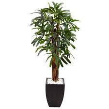 nearly natural indoor raphis palm artificial tree in black planter