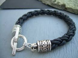 black woven leather bracelet images Womens leather bracelet thick natural black braid toggle clasp jpg