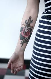 flower tattoos on forearm rose and dagger forearm tattoo for girls tattooideaslive com