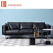 3 Seat Sectional Sofa Top Grain Brown Color Nappa Leather 3 Seater Sectional Sofa