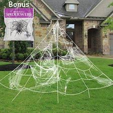 giant spider web with super stretch cobweb set halloween decor