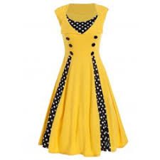 wholesale polka dot floral print sleeveless vintage tea dress in