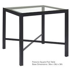 Square Glass Table Top Parson Counter Height With 36 In X 36 In Top