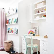 kids desk next to stacked book ledges contemporary u0027s room