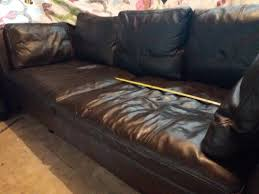 ikea stockholm leather sofa dark bown 3 seater great condition