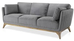 assise canape canapé haut de gamme 3 places assise tissu gris et pieds bois plaqué