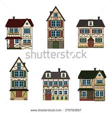 set six german houses vector illustration stock vector 270783857