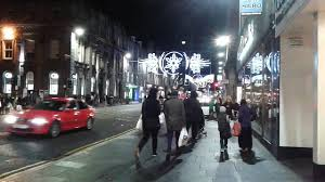 festive christmas lights in aberdeen city centres union street