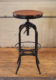 Adjustable Bar Stool With Back Original Vintage Industrial Toledo Backless Wood And Metal
