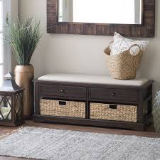 Furniture Lovely White Entry Bench With Shoe Shelves Combined With
