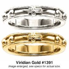 rosary rings rings with raised borders in 10 or 14k yellow white or gold