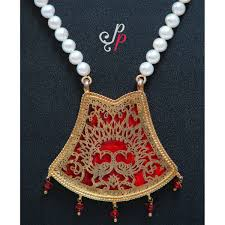 coloured pearl necklace images Thewa pearl necklace set with red coloured pendant jpg