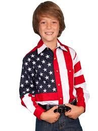 Model American Flag Kids American Flag Shirt Long Sleeves Western Wear Frontier
